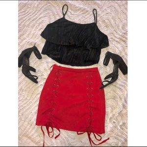 Suede Laced skirt (Red)